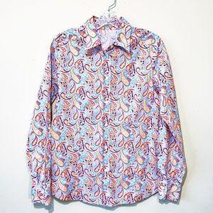 Etro Vibrant Aqua Paisley Print Button Up Shirt 10